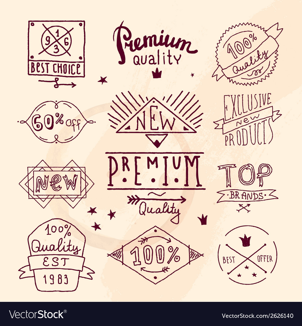 Premium retro quality emblem vector | Price: 3 Credit (USD $3)