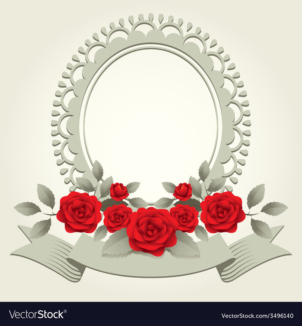 Roses vintage heart shape frame and border vector | Price: 1 Credit (USD $1)