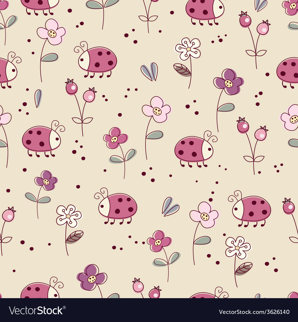 Seamless pattern with bugs and flowers vector | Price: 1 Credit (USD $1)