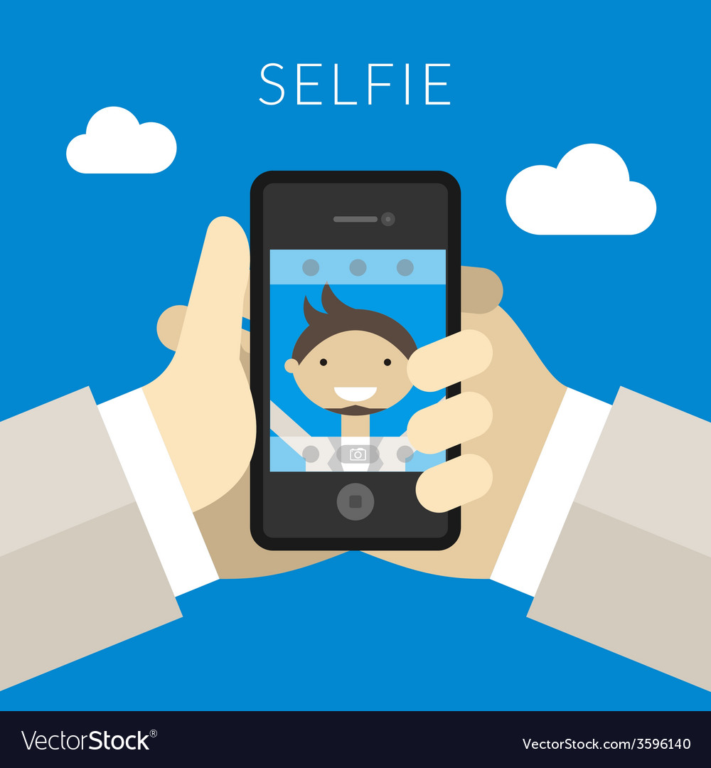 Selfie concept hand of person taking photo using vector | Price: 1 Credit (USD $1)