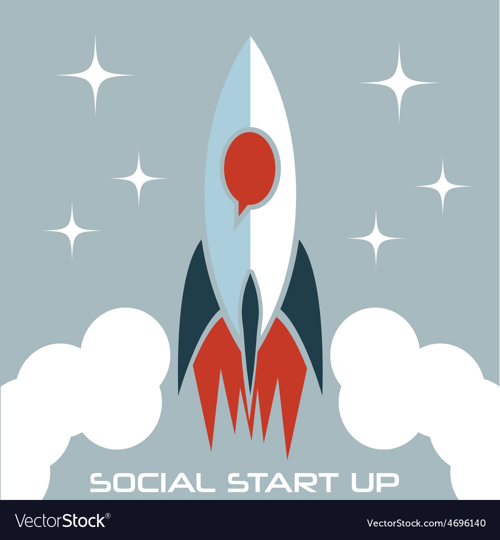 Social start up flat design concept with rocket vector | Price: 1 Credit (USD $1)