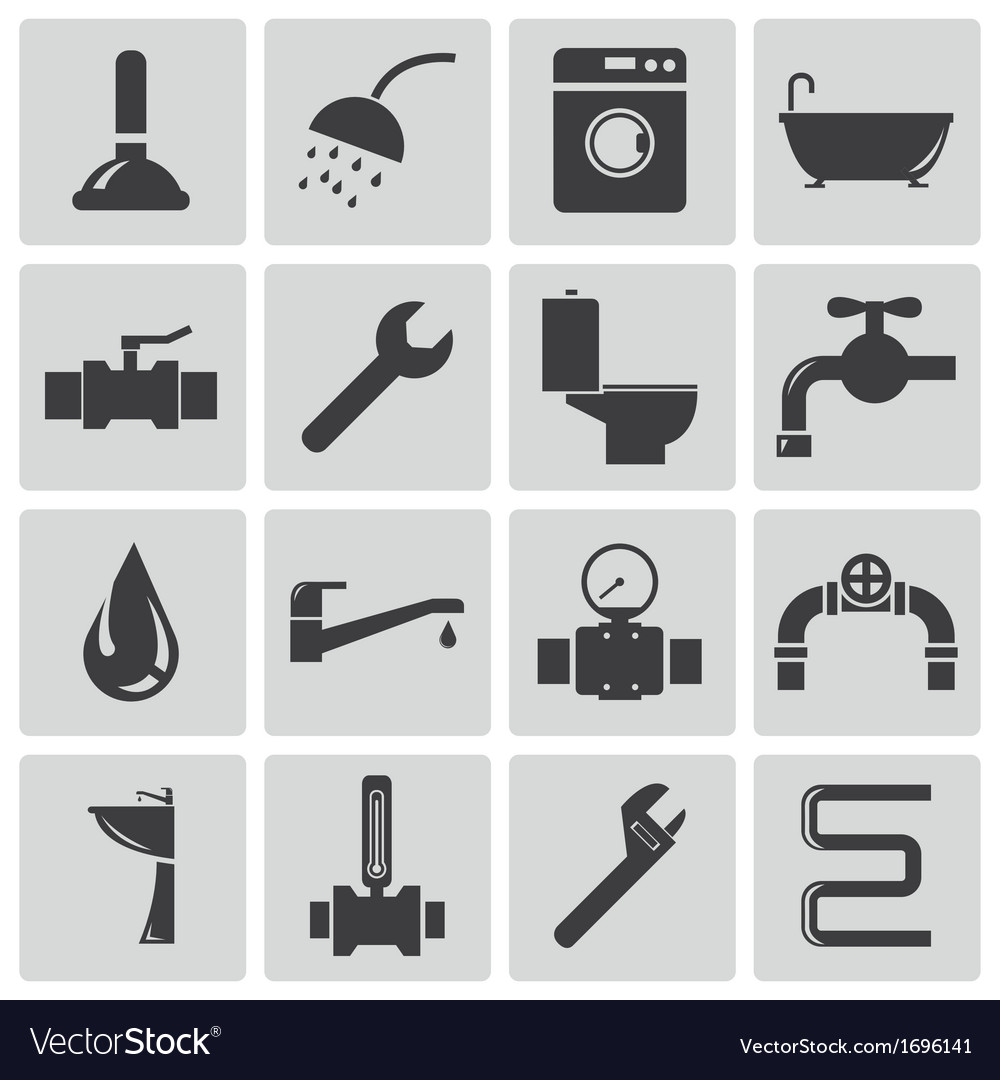 Black plumbing icons set vector | Price: 1 Credit (USD $1)