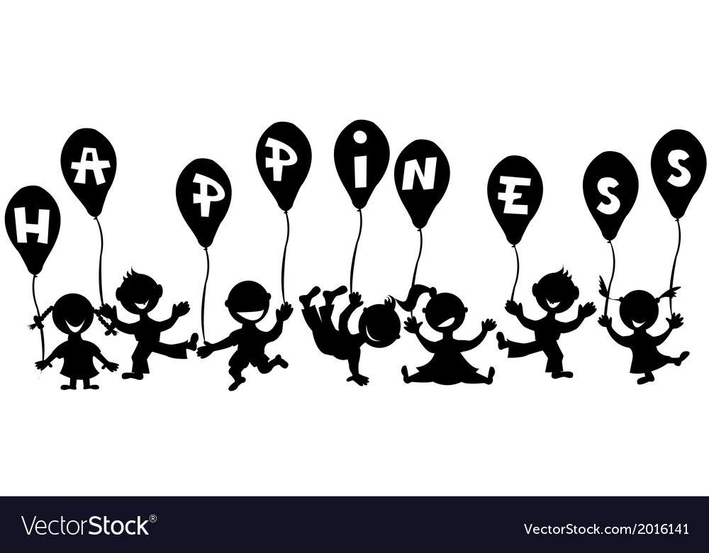 Doodle children with balloons vector | Price: 1 Credit (USD $1)
