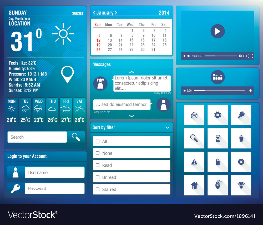 Flat design elements for mobile app vector | Price: 1 Credit (USD $1)