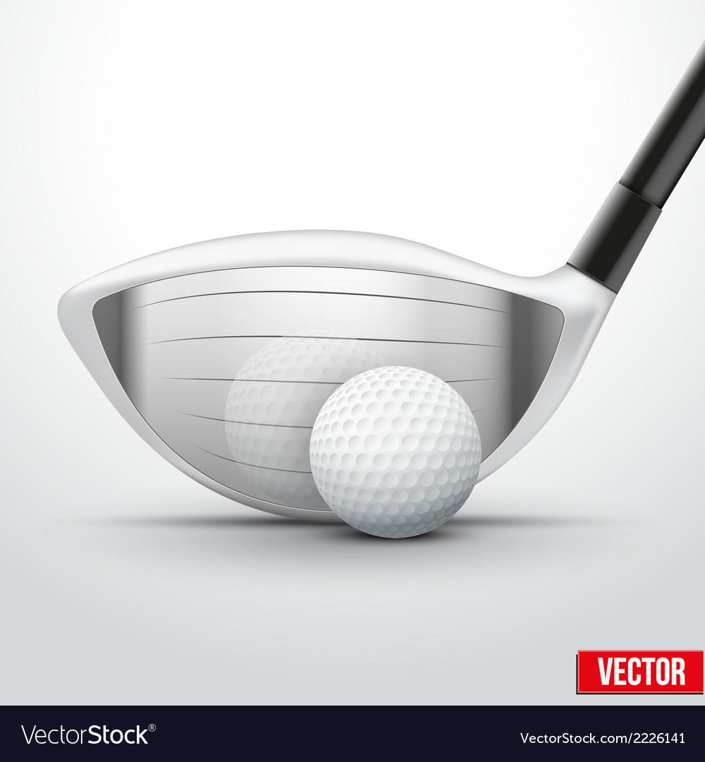 Golf club and ball at the moment of impact vector
