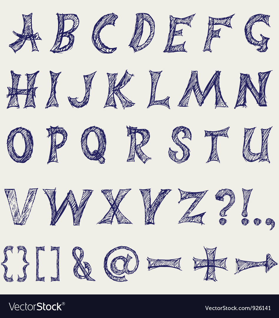 Handwritten alphabet vector | Price: 1 Credit (USD $1)