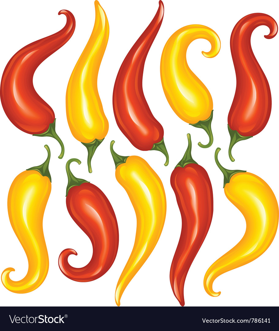 Hot chilli pepper set isolated on white vector | Price: 1 Credit (USD $1)