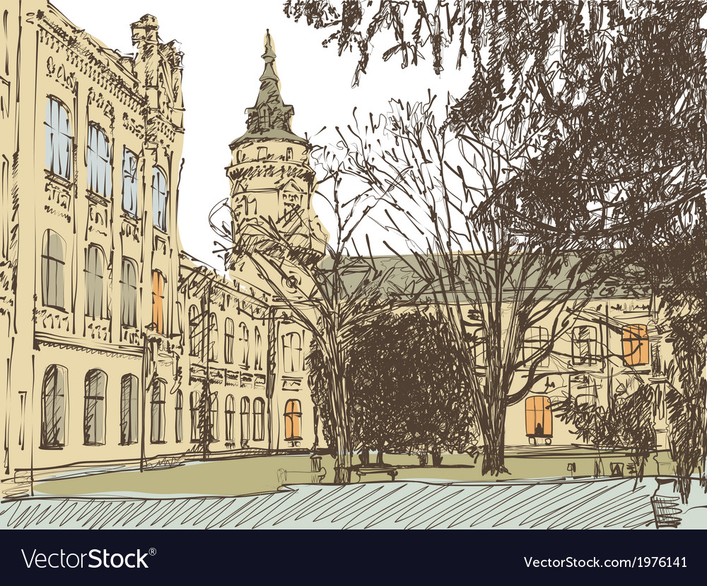 Old building town sketch vector | Price: 1 Credit (USD $1)