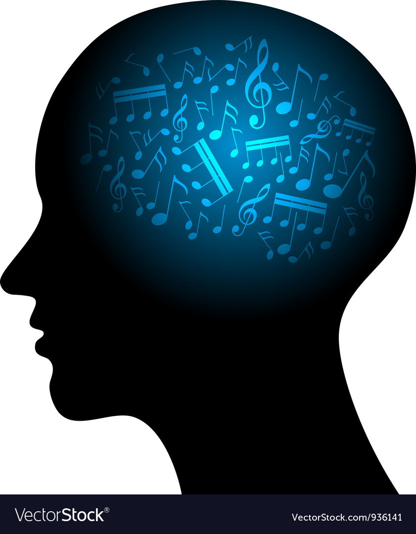 Profile with musical notes vector | Price: 1 Credit (USD $1)