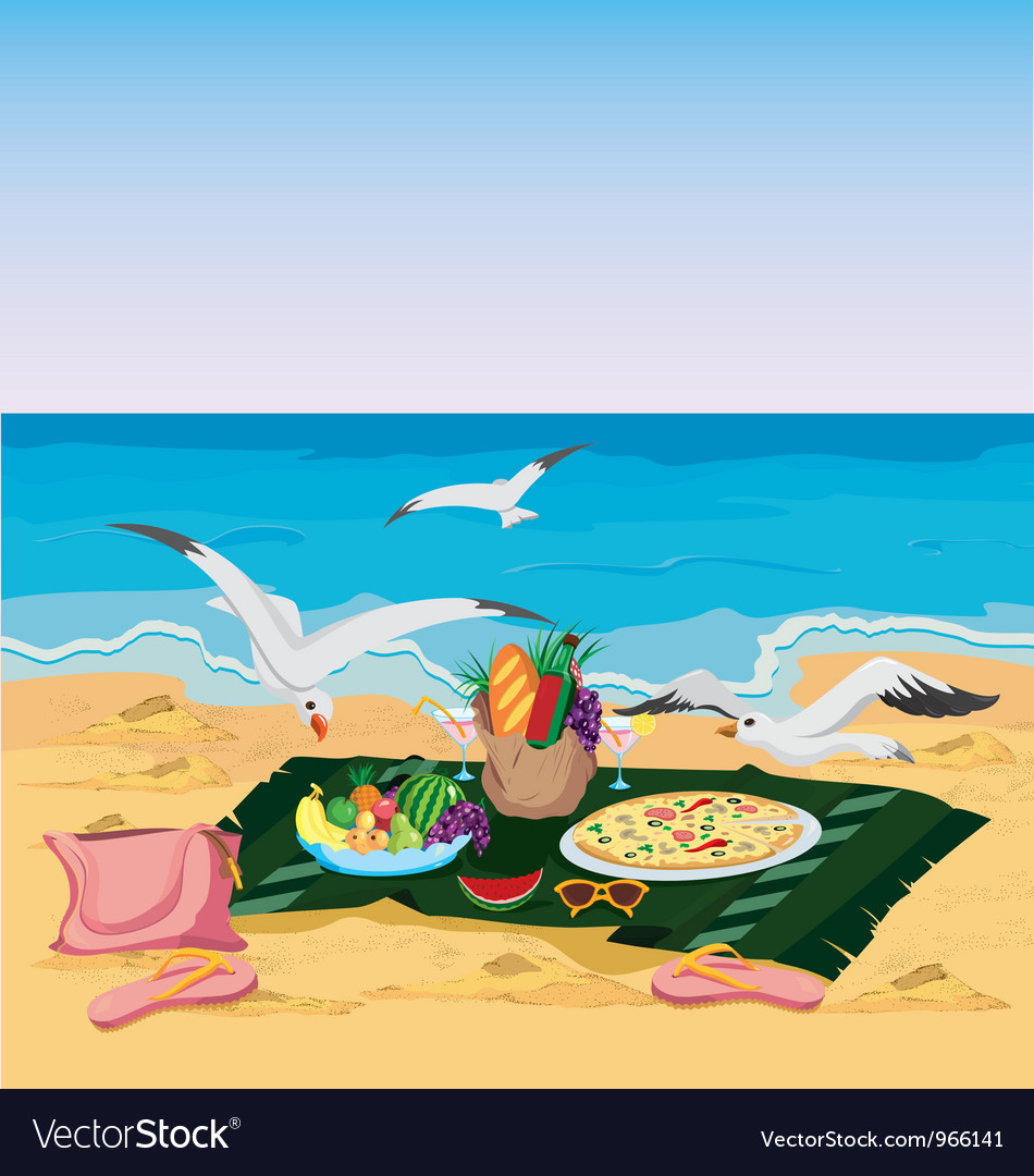 Seagulls are trying to steal food left on the vector | Price: 3 Credit (USD $3)