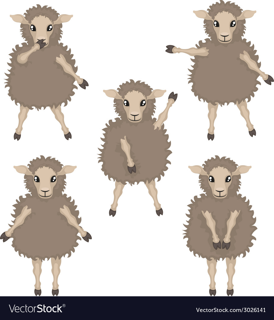 Sheep in various poses vector | Price: 1 Credit (USD $1)