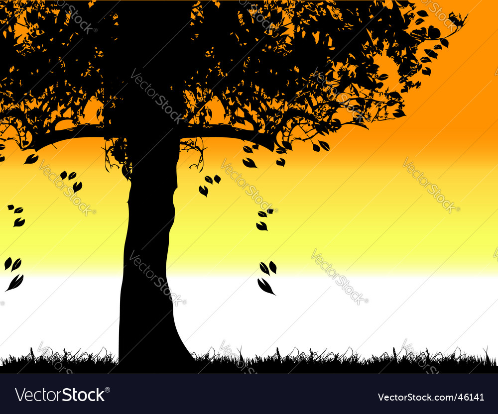 Tree silhouette old grass summer vector | Price: 1 Credit (USD $1)