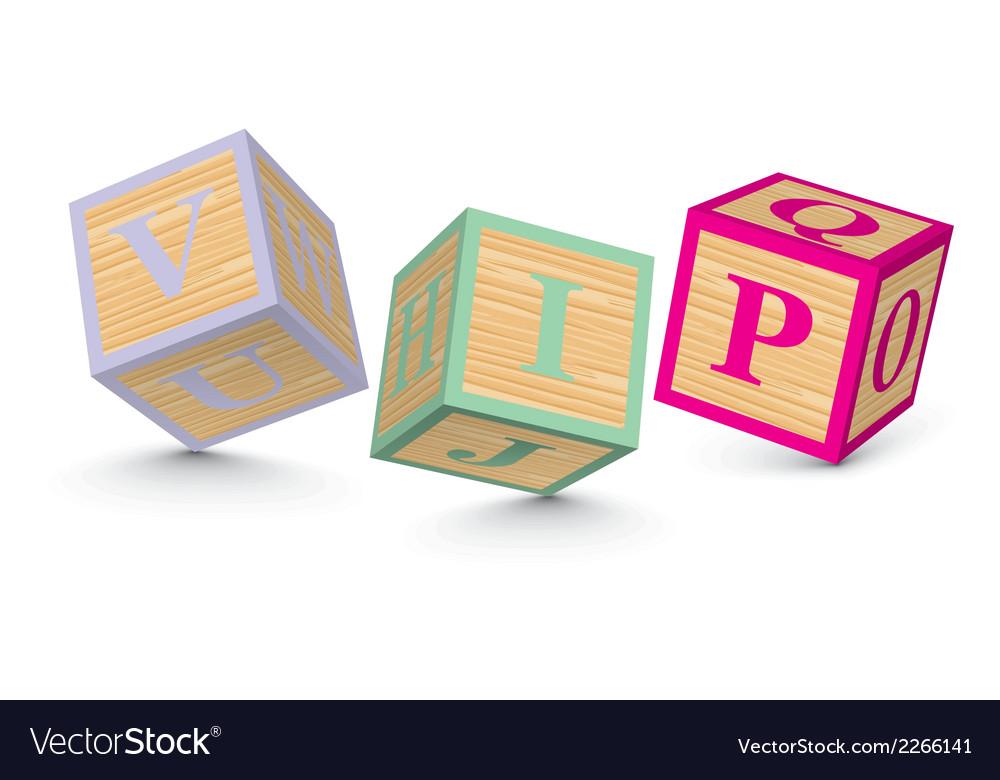 Word vip written with alphabet blocks vector | Price: 1 Credit (USD $1)