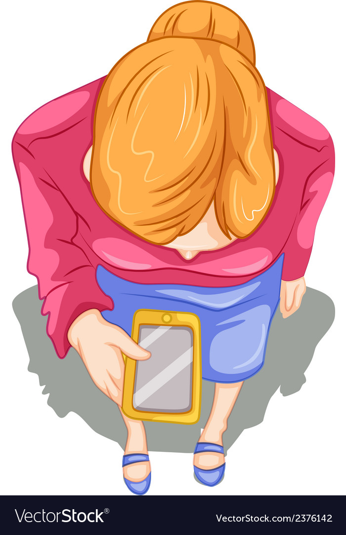 A topview of a girl using a cellphone vector   Price: 1 Credit (USD $1)