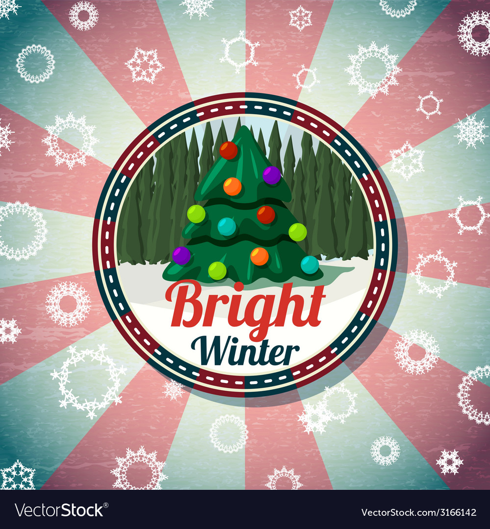 Badge with cute christmas new year tree pine vector | Price: 1 Credit (USD $1)
