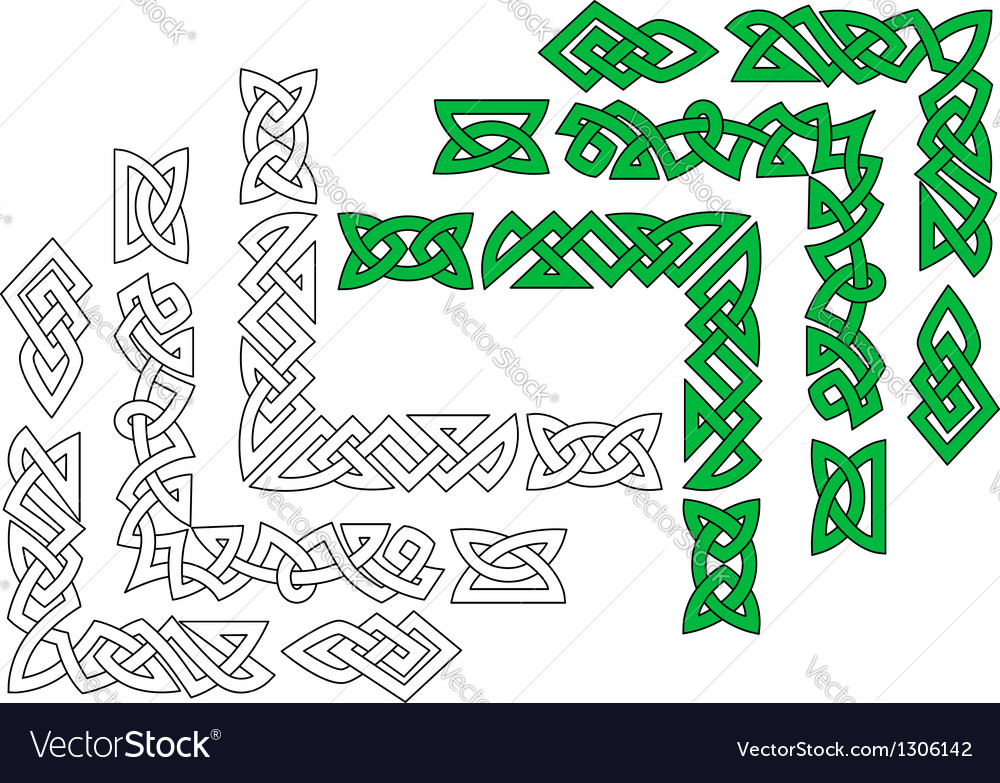 Borders and patterns in celtic style vector | Price: 1 Credit (USD $1)