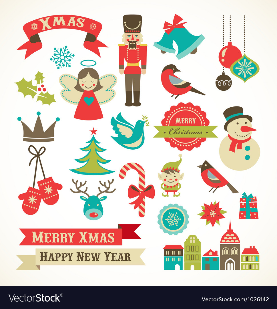 Christmas retro icons elements and vector | Price: 3 Credit (USD $3)