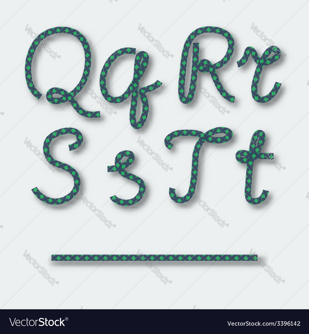Letters q r s t - handwritten alphabet of rope vector | Price: 1 Credit (USD $1)