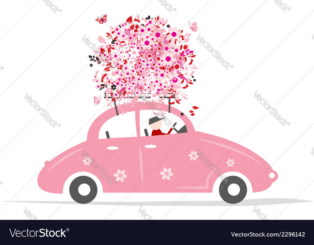 Man driving pink car with floral bouquet on roof vector | Price: 1 Credit (USD $1)