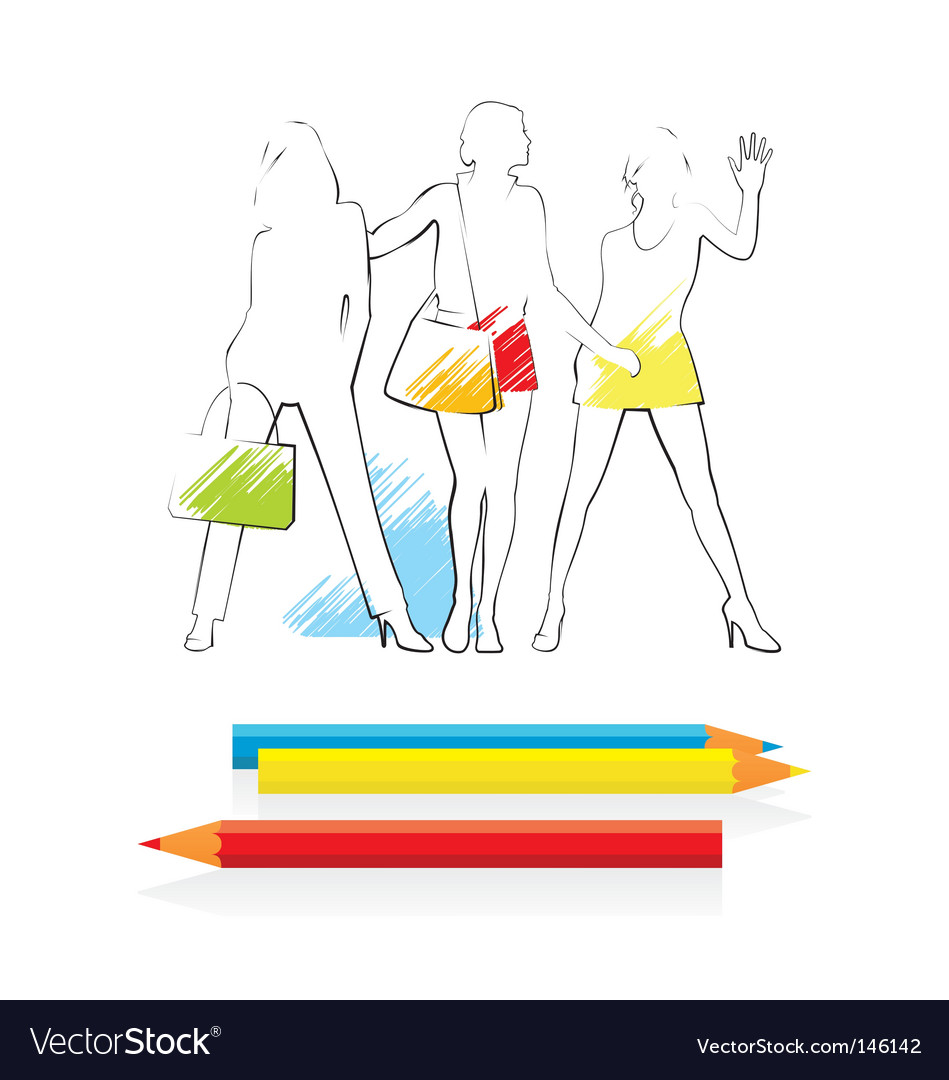 Pencil sketch of women vector | Price: 1 Credit (USD $1)