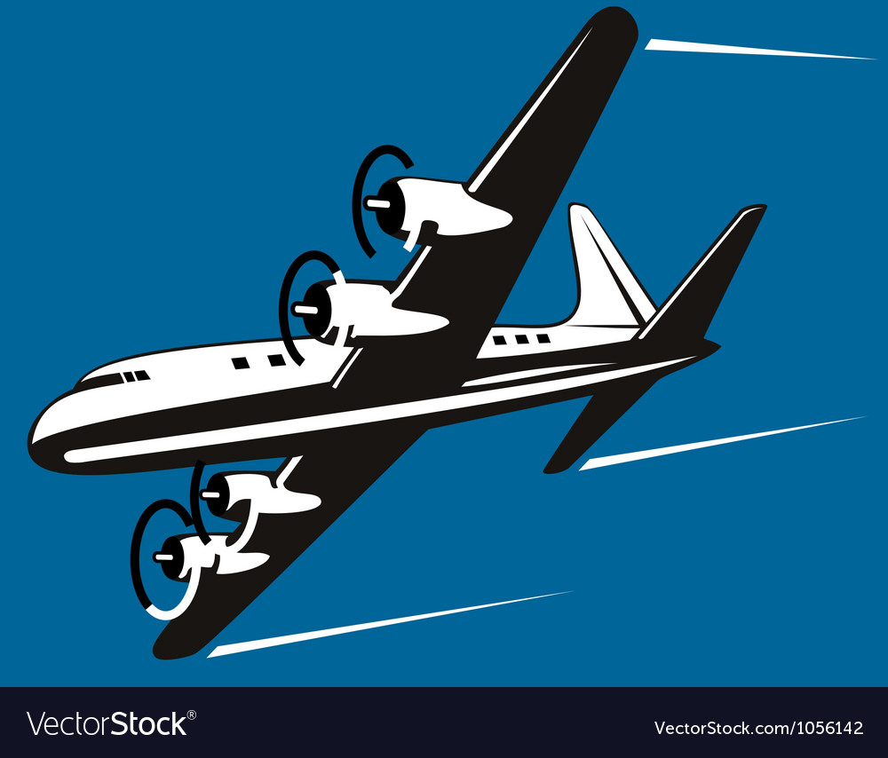 Propeller airplane retro vector | Price: 1 Credit (USD $1)