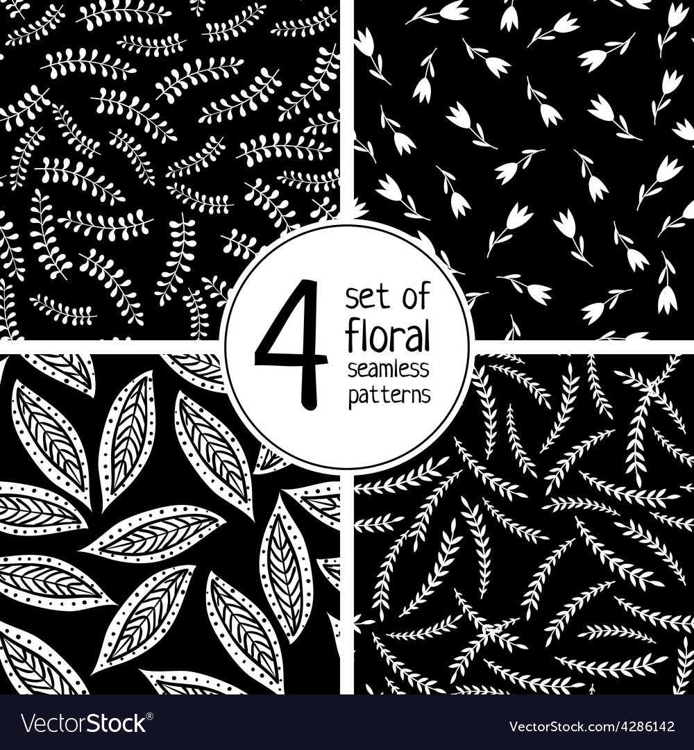 Set of 4 black floral seamless patterns vector | Price: 1 Credit (USD $1)