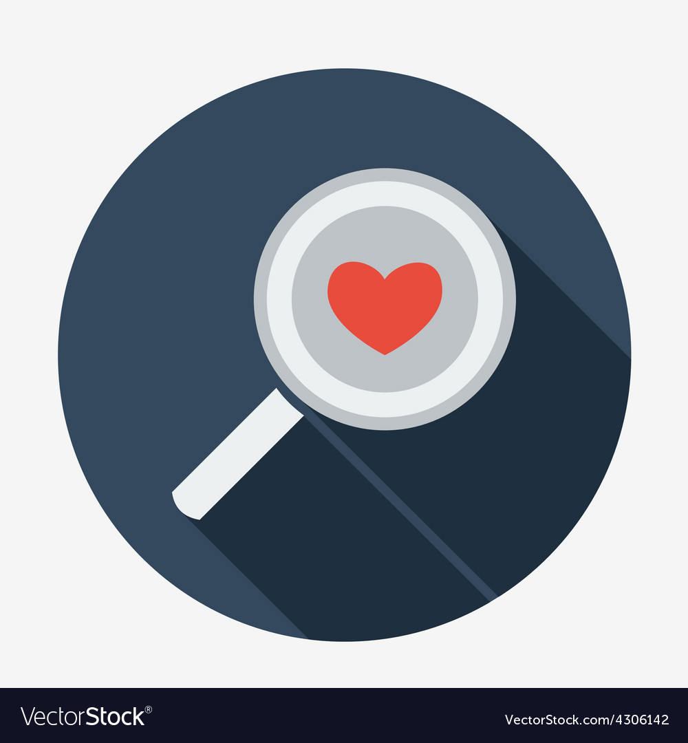 Single flat magnifying glass with heart icon with vector | Price: 1 Credit (USD $1)