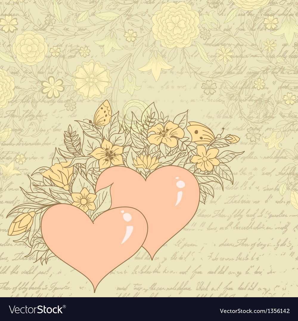 Vintage sketch of hearts and flowers vector | Price: 1 Credit (USD $1)