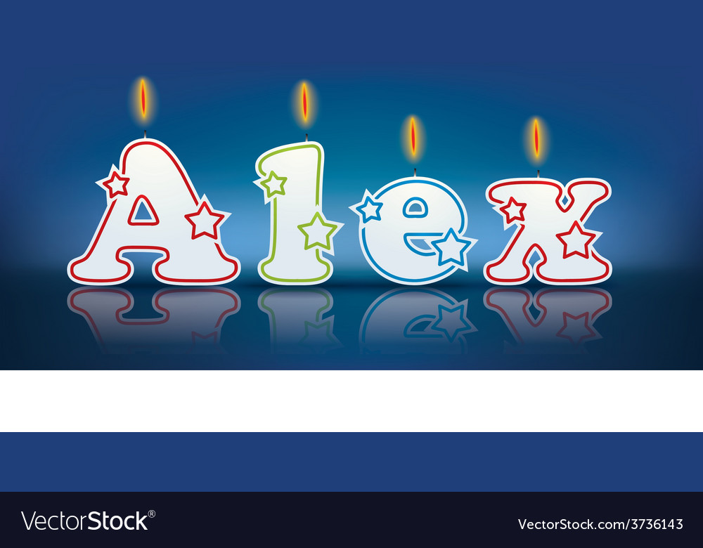 Alex written with burning candles vector | Price: 1 Credit (USD $1)