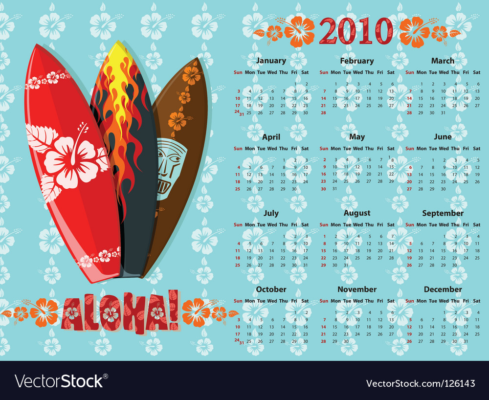 Aloha calendar 2010 vector | Price: 1 Credit (USD $1)