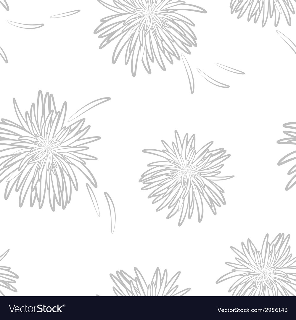 Asters neutral seamless pattern on neutral vector | Price: 1 Credit (USD $1)