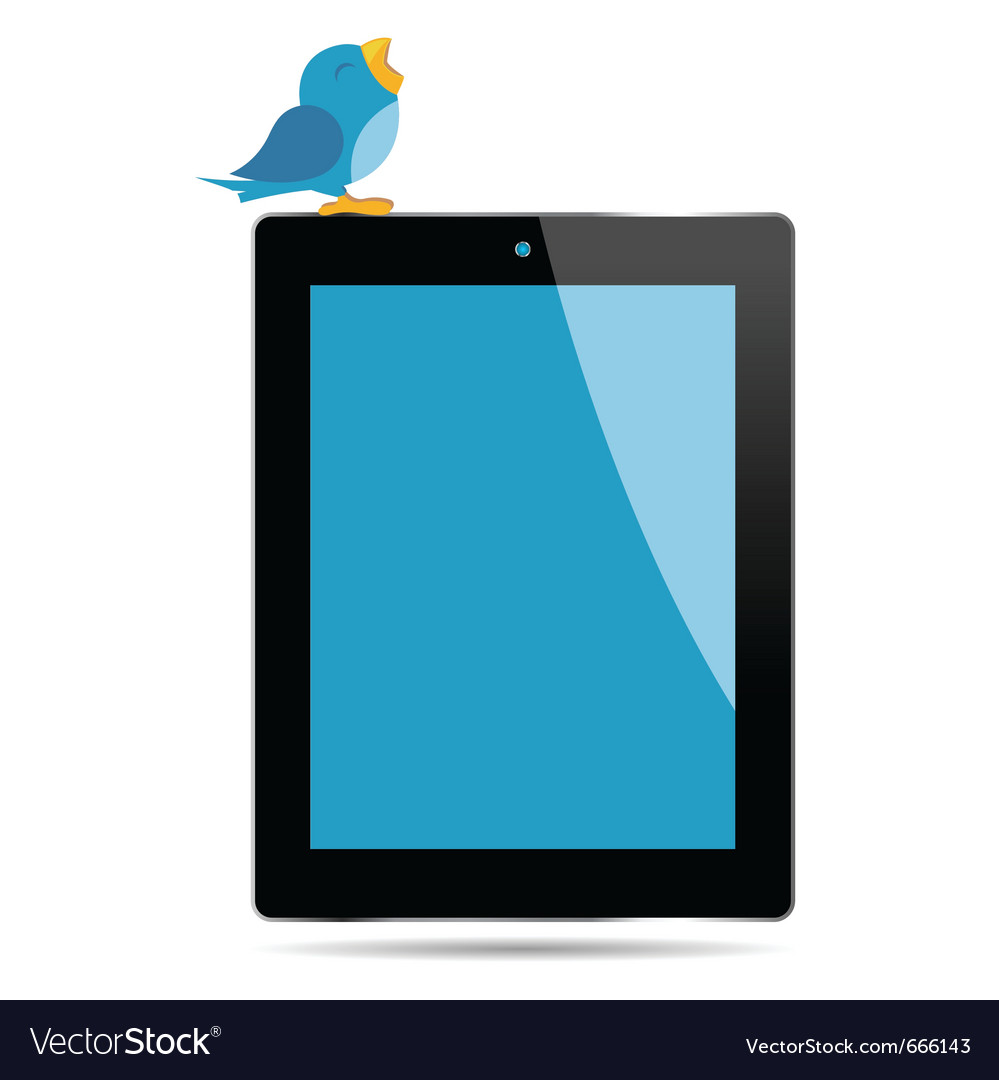 Bird tweeting on a tablet vector | Price: 1 Credit (USD $1)