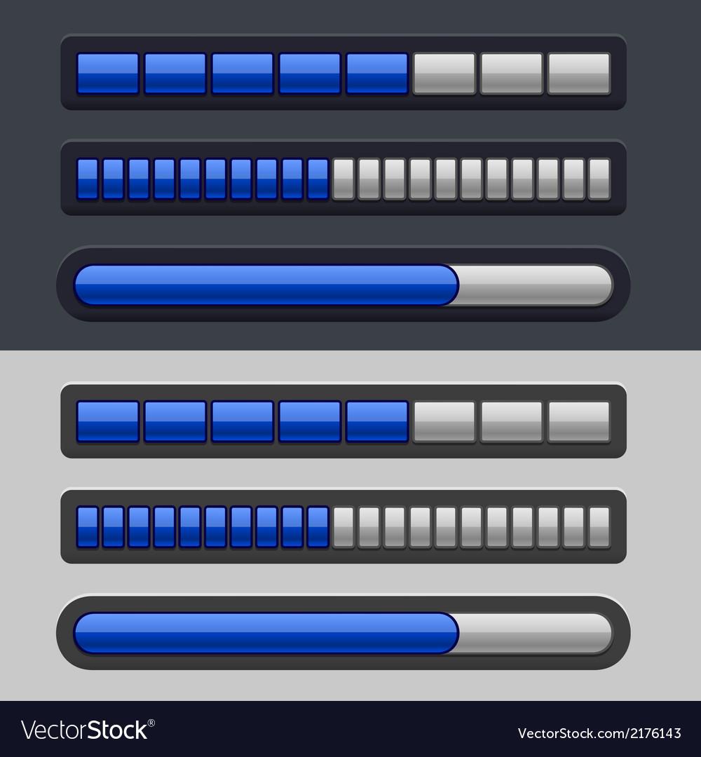 Blue striped progress bar set vector | Price: 1 Credit (USD $1)