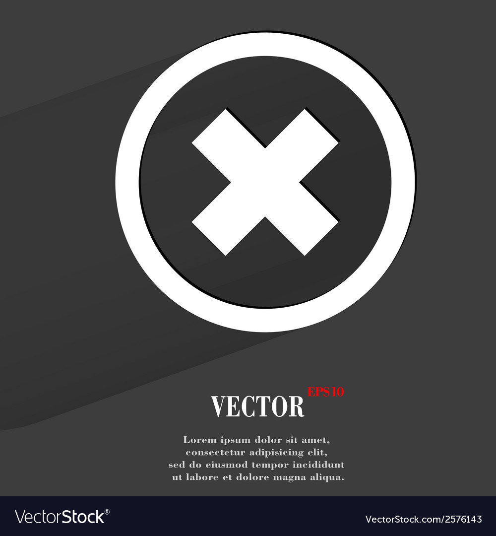 Cancel flat modern web button with long shadow and vector | Price: 1 Credit (USD $1)