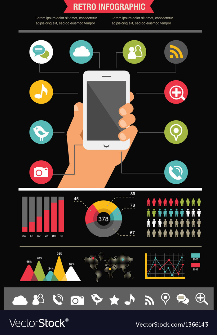 Mobile phone with icons - infographic and website vector | Price: 1 Credit (USD $1)