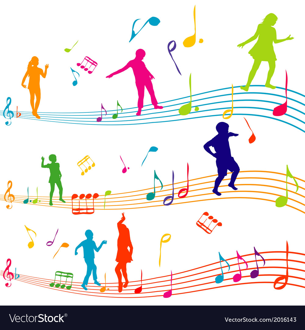 Music note with kids silhouettes dancing vector | Price: 1 Credit (USD $1)