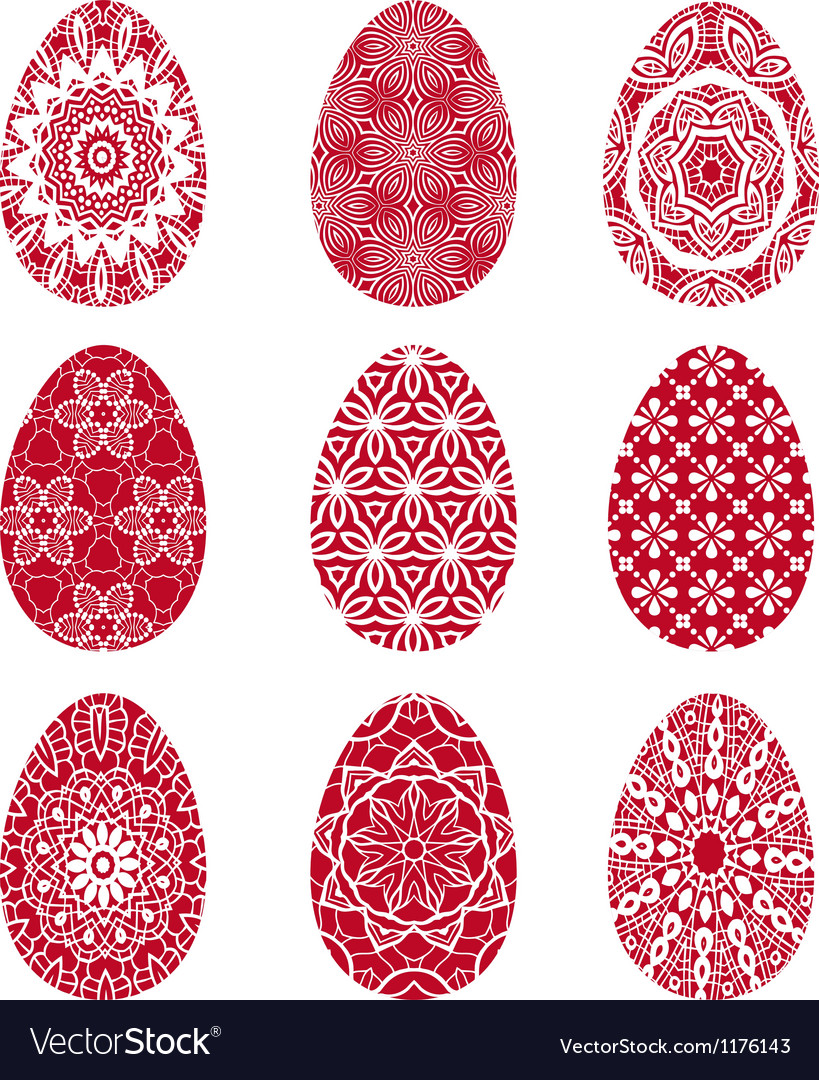 Red easter eggs with floral pattern vector | Price: 1 Credit (USD $1)