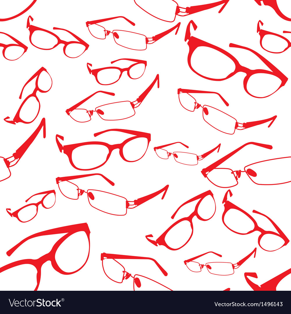 Seamless red spectacle pattern vector | Price: 1 Credit (USD $1)
