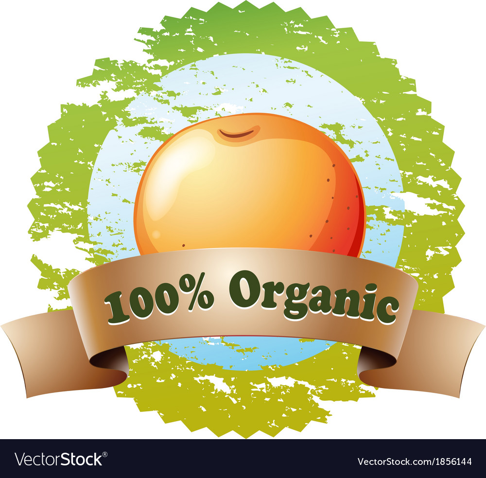 A pure organic label with an orange vector   Price: 1 Credit (USD $1)