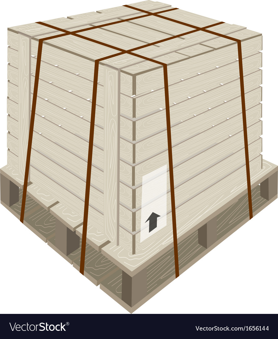 A shipping box with steel strapping on pallet vector | Price: 1 Credit (USD $1)