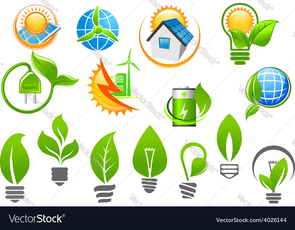 Abstract eco or green energy icons vector | Price: 1 Credit (USD $1)