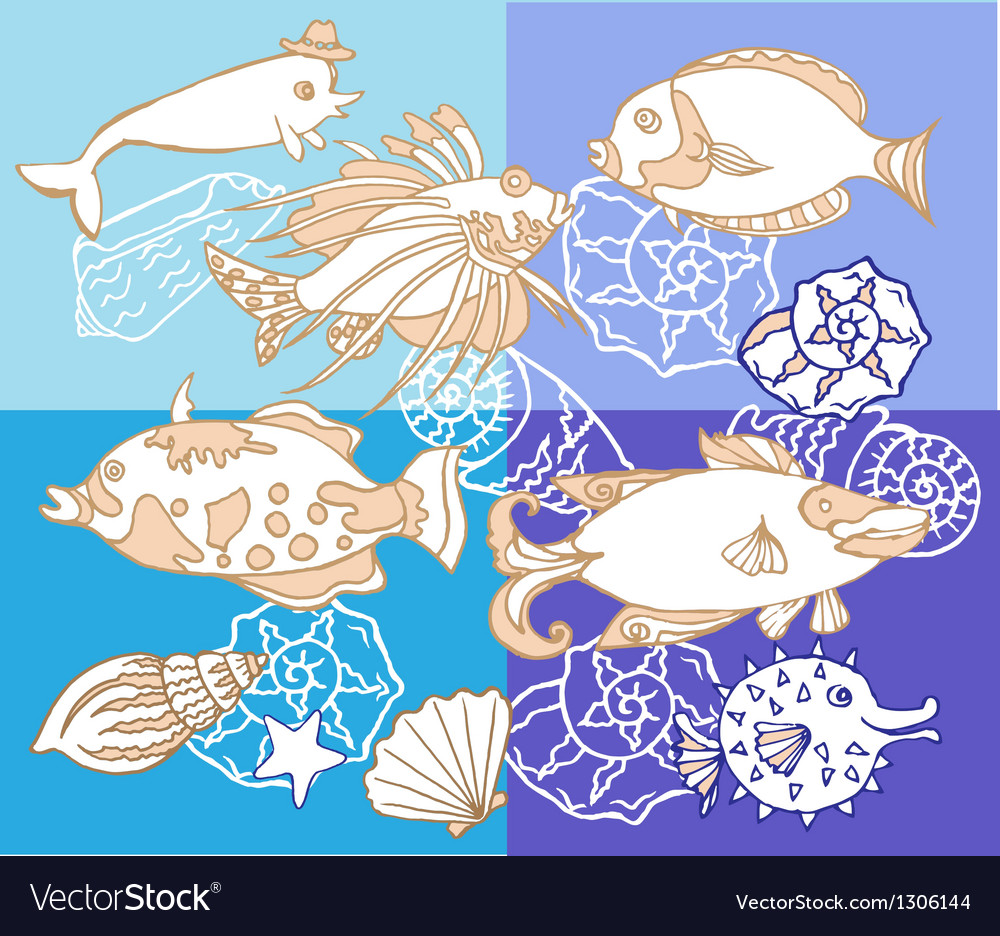 Background with fishes and cockleshell vector | Price: 1 Credit (USD $1)