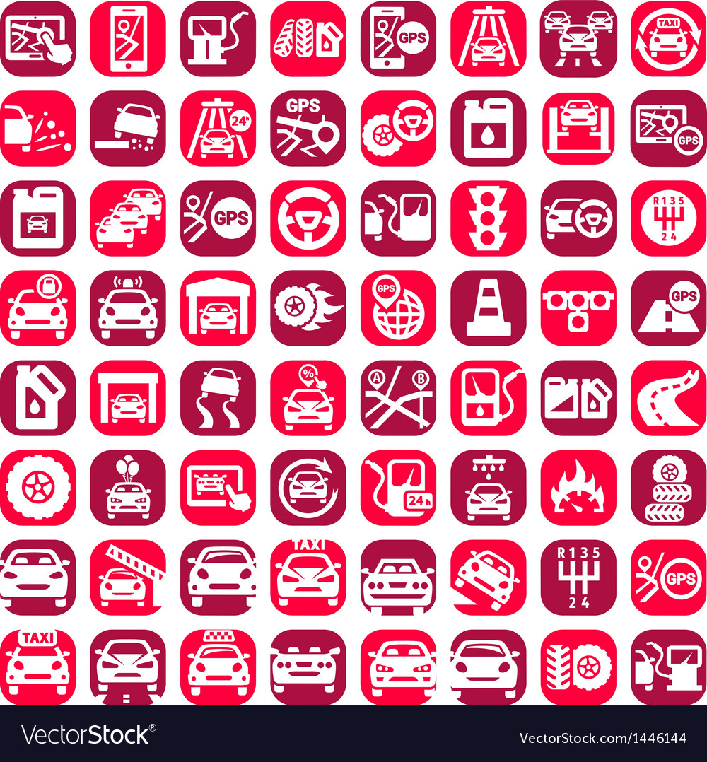 Big color auto icons set vector | Price: 1 Credit (USD $1)