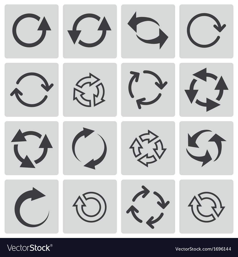 Black refresh icons set vector | Price: 1 Credit (USD $1)