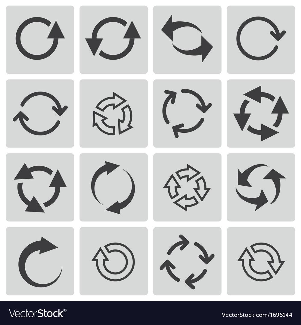 Black refresh icons set vector | Price: 1 Credit (USD $1)
