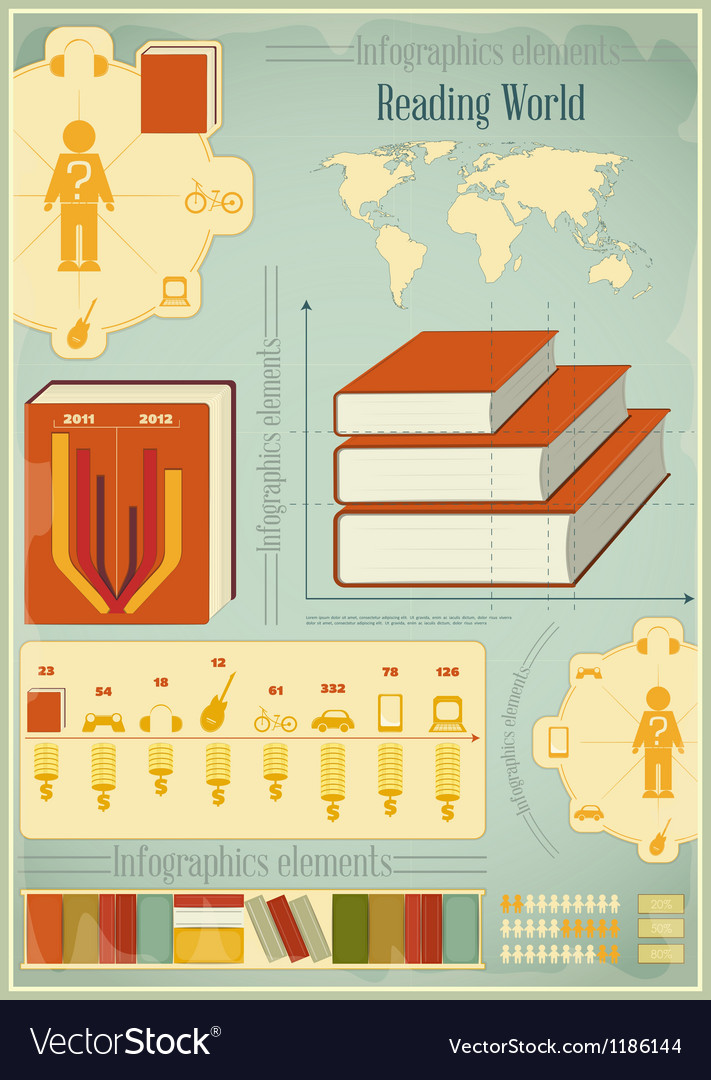 Book infographics elements vector | Price: 3 Credit (USD $3)