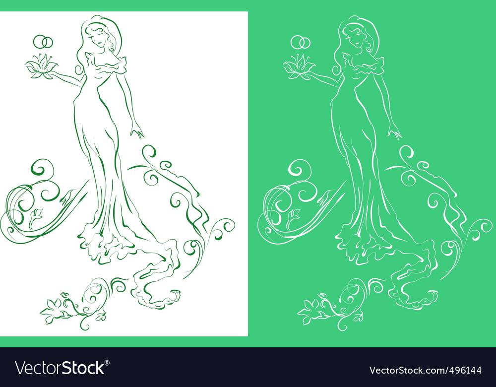 Bride with flowers vector | Price: 1 Credit (USD $1)