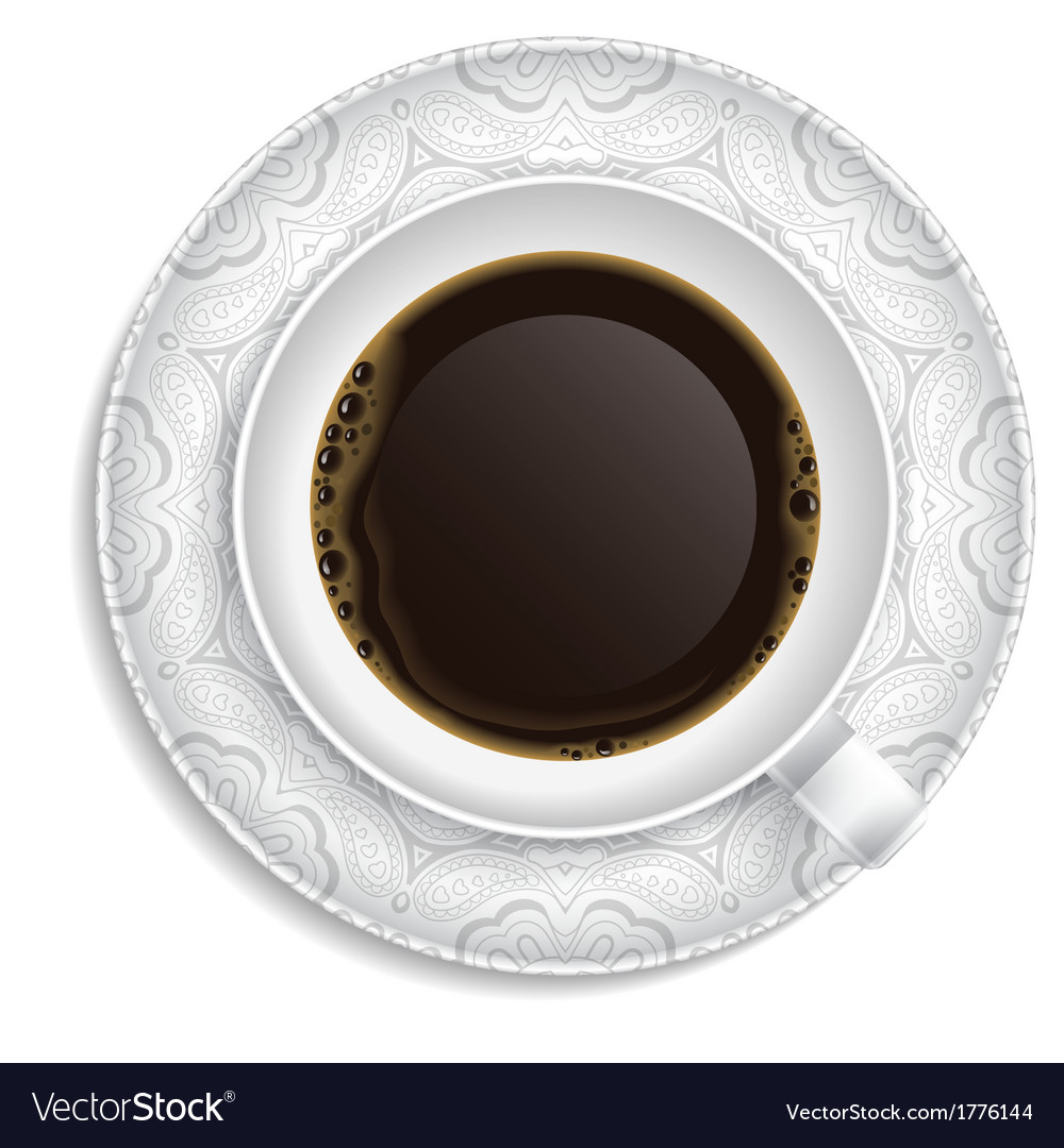 Cup of coffee on saucer vector | Price: 1 Credit (USD $1)