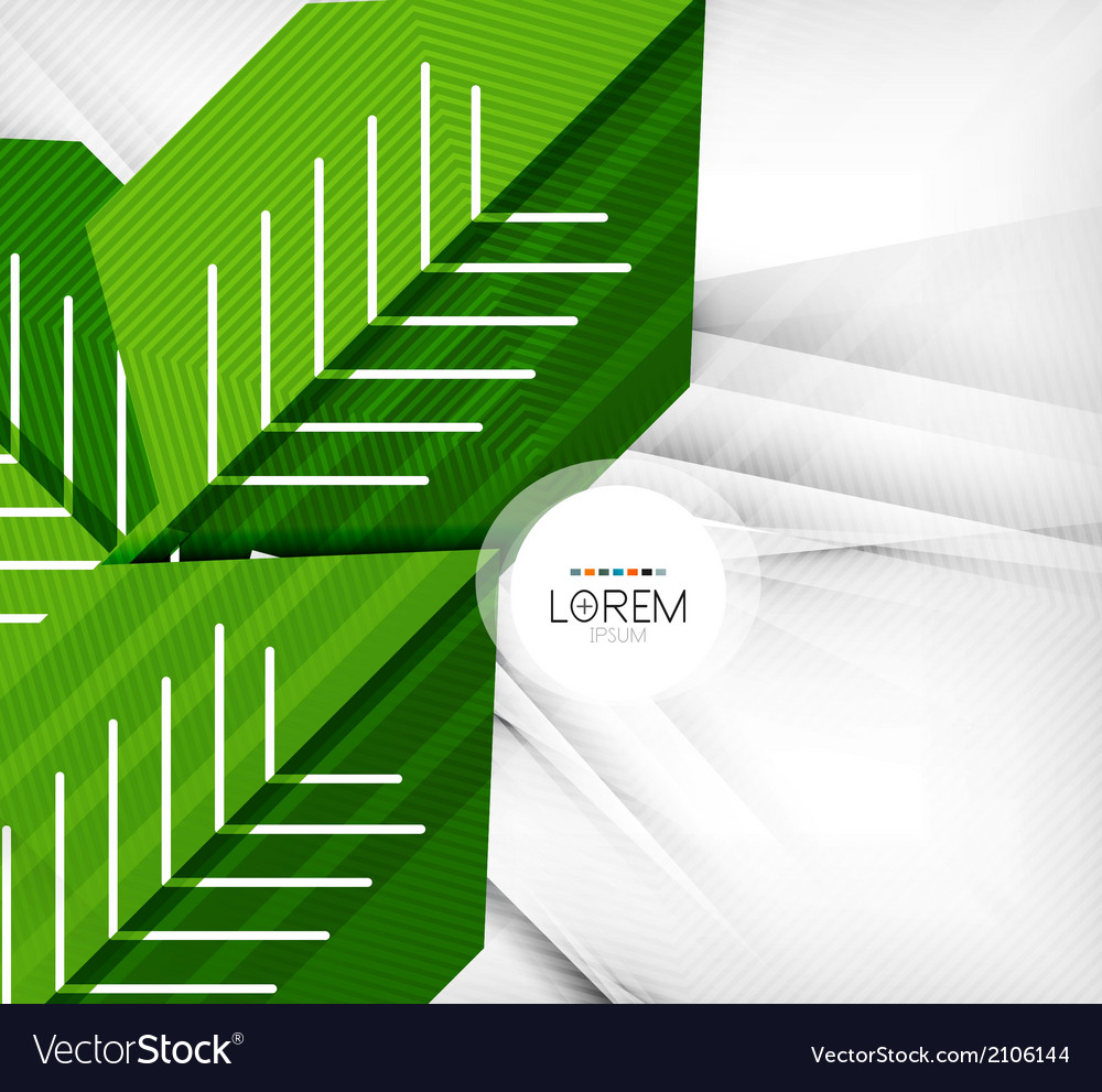 Green stylized geometrical leaves vector | Price: 1 Credit (USD $1)