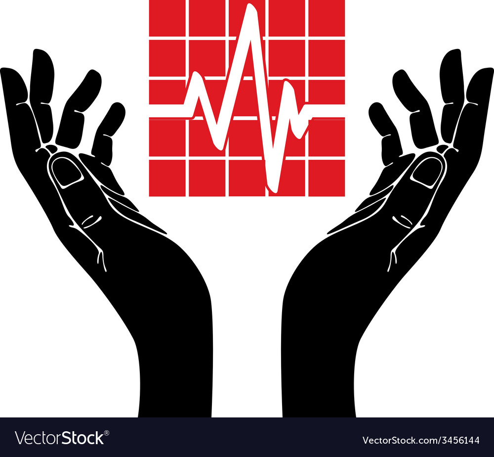 Hand with cardiogram symbol vector | Price: 1 Credit (USD $1)